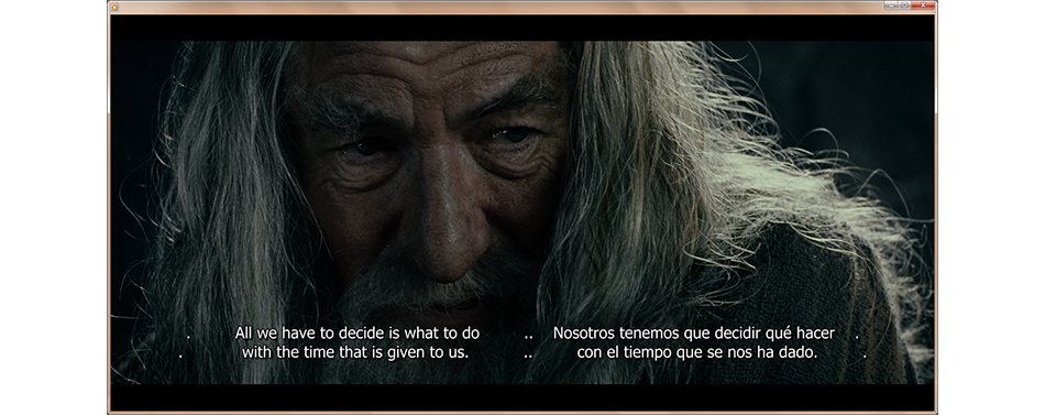Screenshot of espanol and english subtitles displayed in MPlayer.